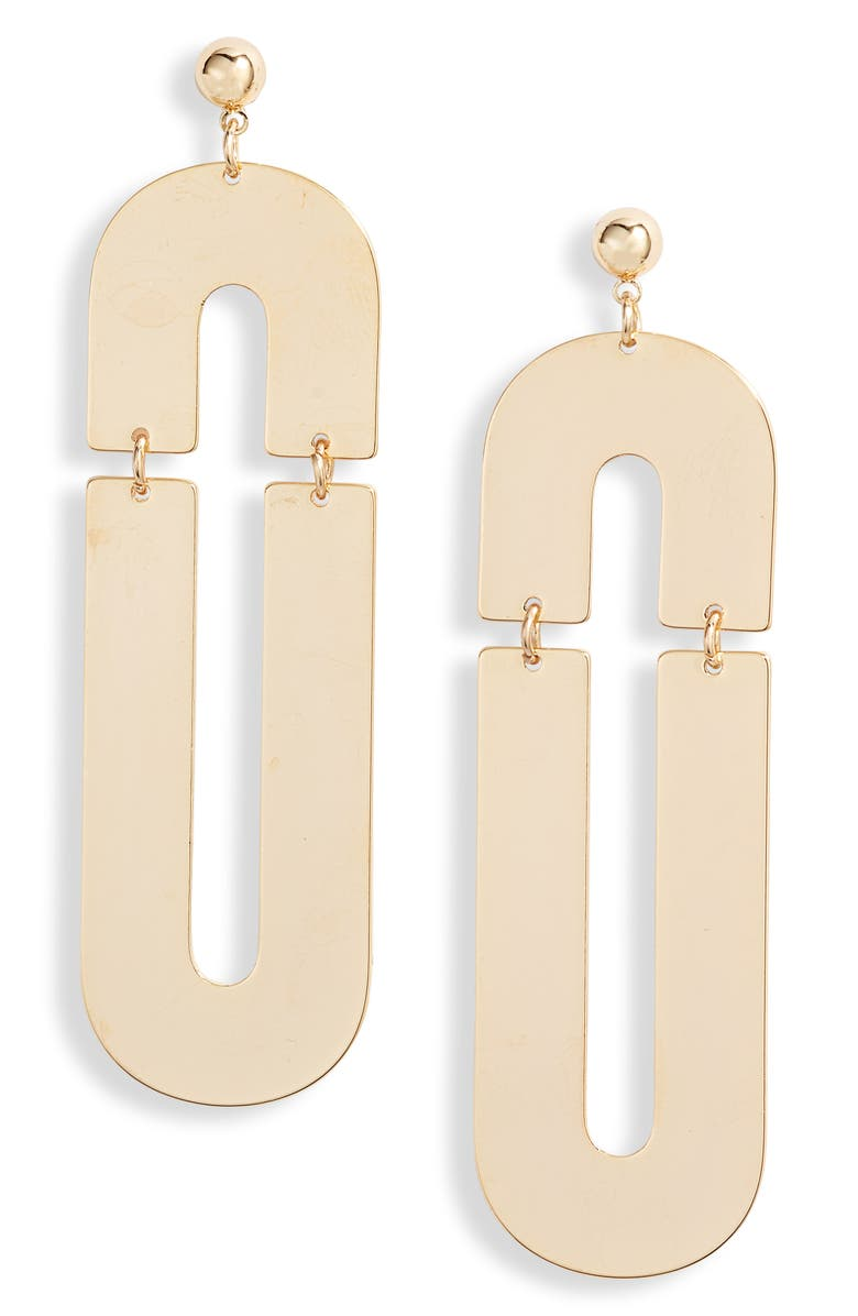 TEN79LA Geo Drop Earrings, Main, color, GOLD