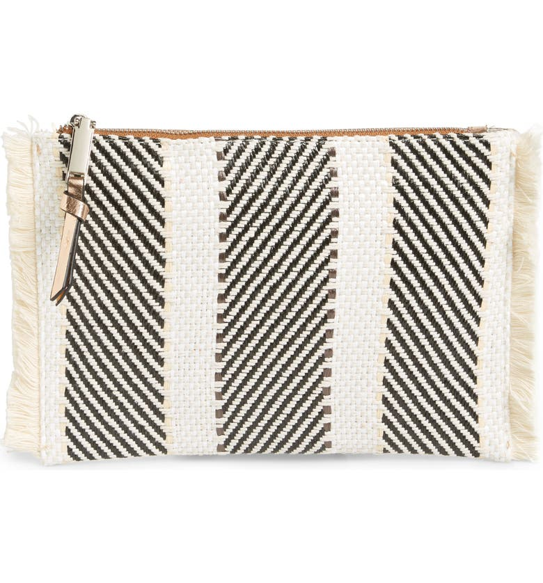VIOLET RAY NEW YORK Woven & Metallic Zip Pouch, Main, color, 250