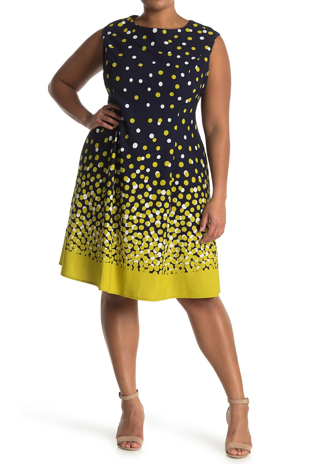 Image of London Times Ombre Dots Cap Sleeve Crepe Dress