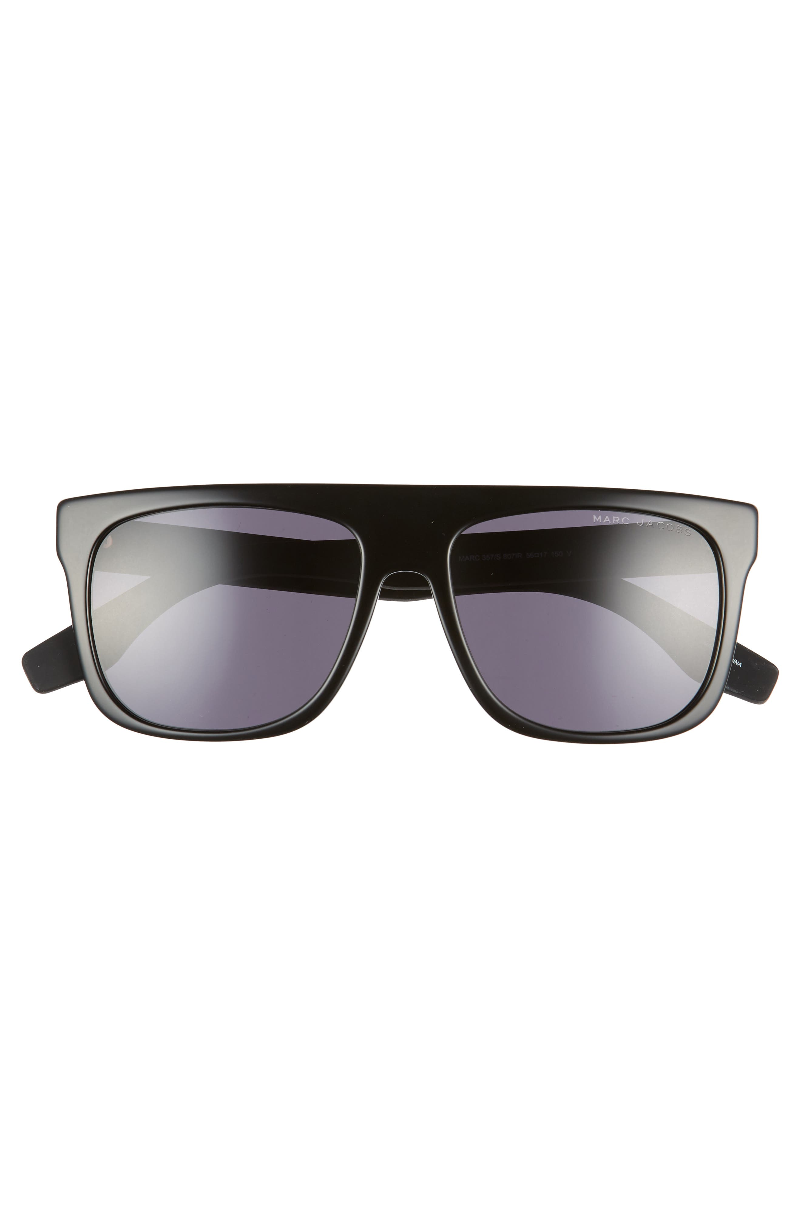 ,                             56mm Mirrored Flat Top Sunglasses,                             Alternate thumbnail 3, color,                             BLACK