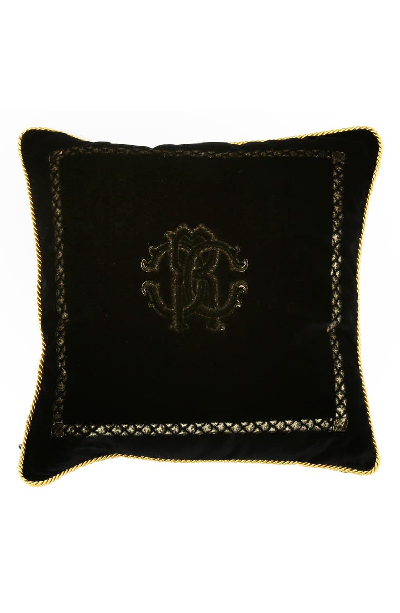 ROBERTO CAVALLI Venezia Accent Pillow, Main, color, BLACK