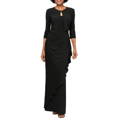 Petite Alex Evenings Ruched Gown With Bolero, Black