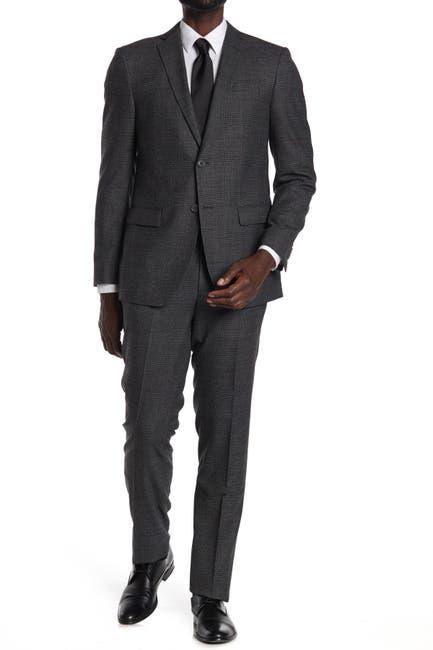 Image of John Varvatos Collection Charcoal Plaid Two Button Notch Lapel Suit