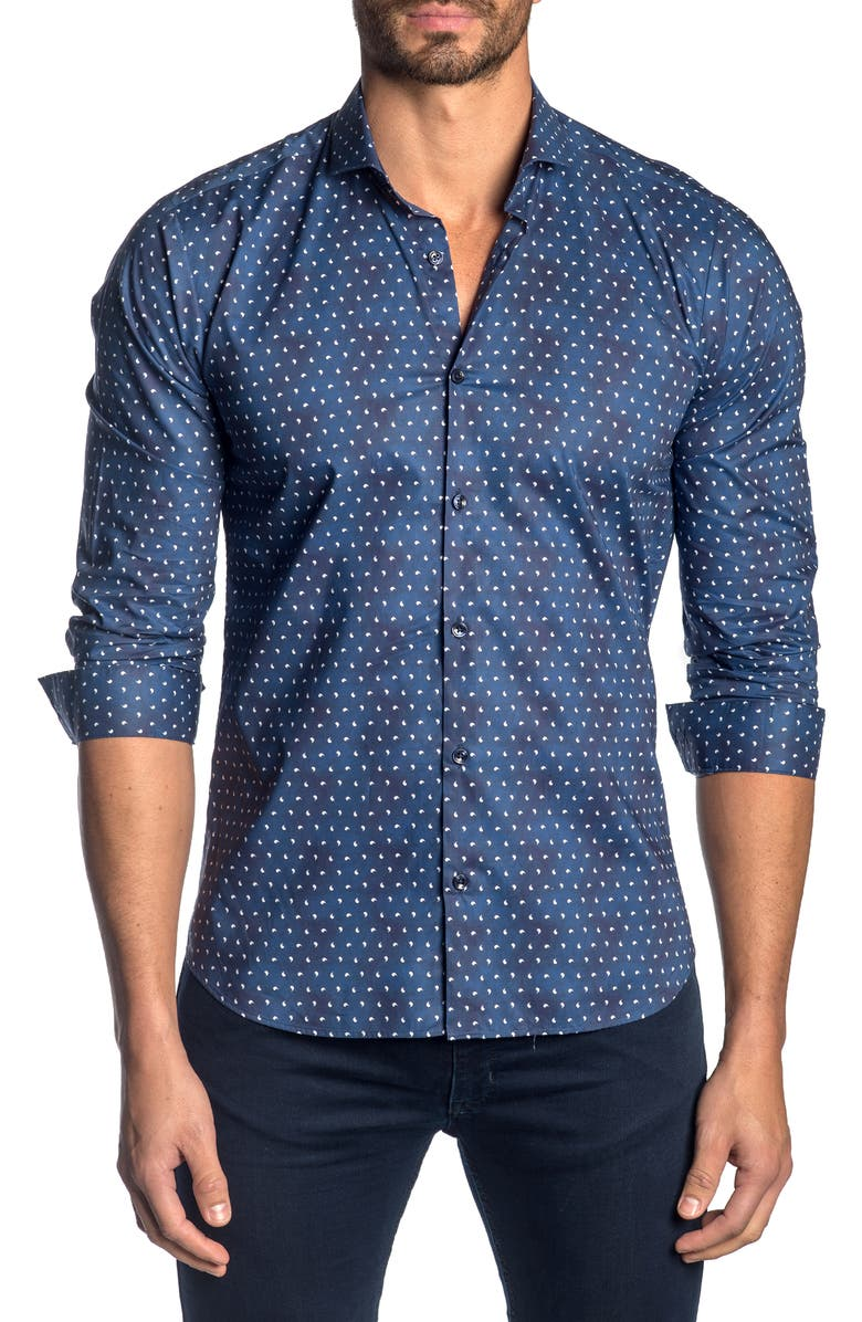 JARED LANG Slim Fit Micro Paisley Button-Up Sport Shirt, Main, color, 419