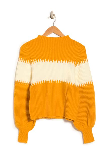 Image of French Connection Sophia Colorblock Balloon Sleeve Sweater