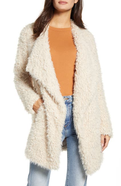 Image of BB Dakota Cozy Faux Fur Drape Front Coat