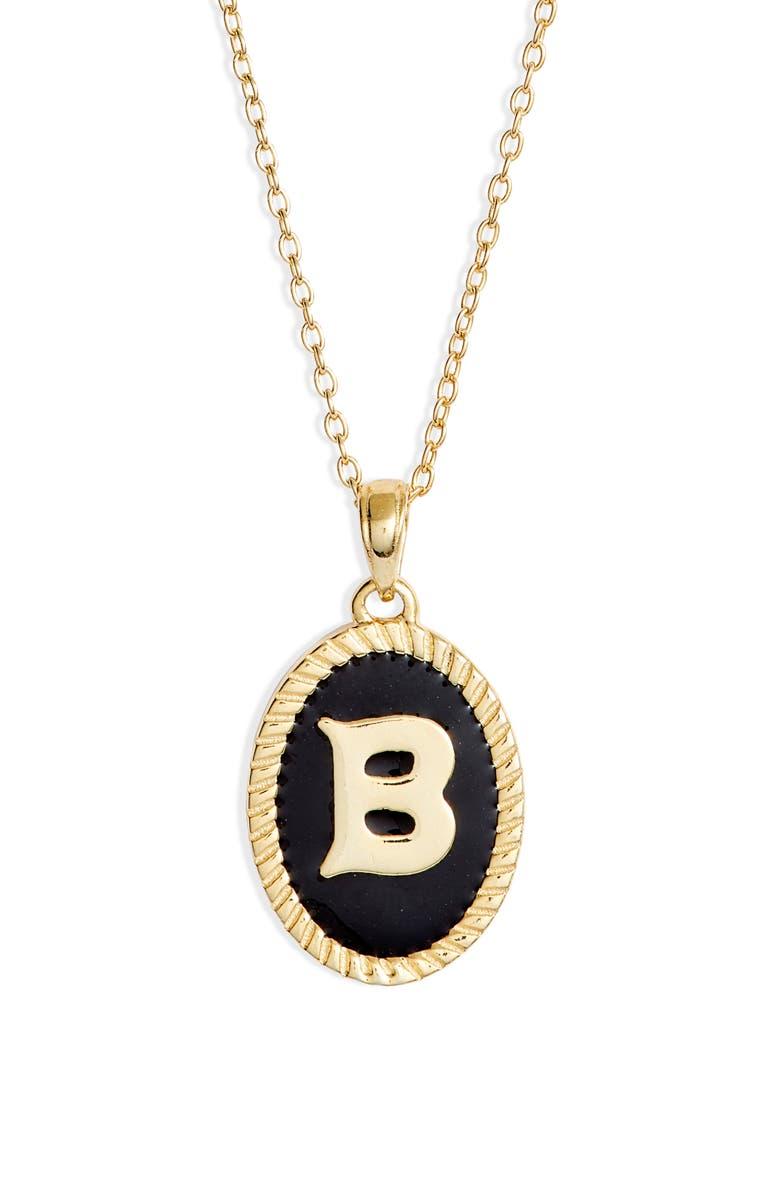 ARGENTO VIVO STERLING SILVER Argento Vivo Initial Black Pendant Necklace, Main, color, B