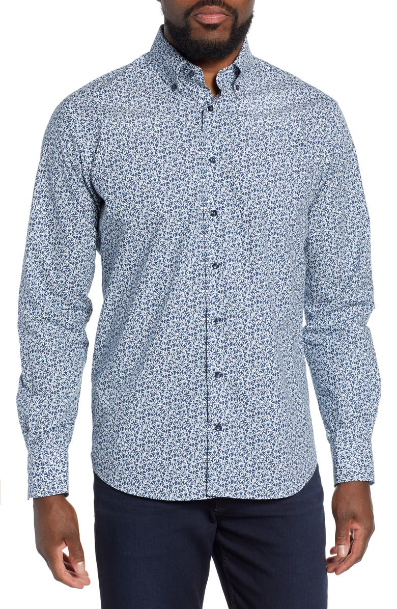 EMANUEL BERG Regular Fit Floral Print Button-Down Shirt, Main, color, 410