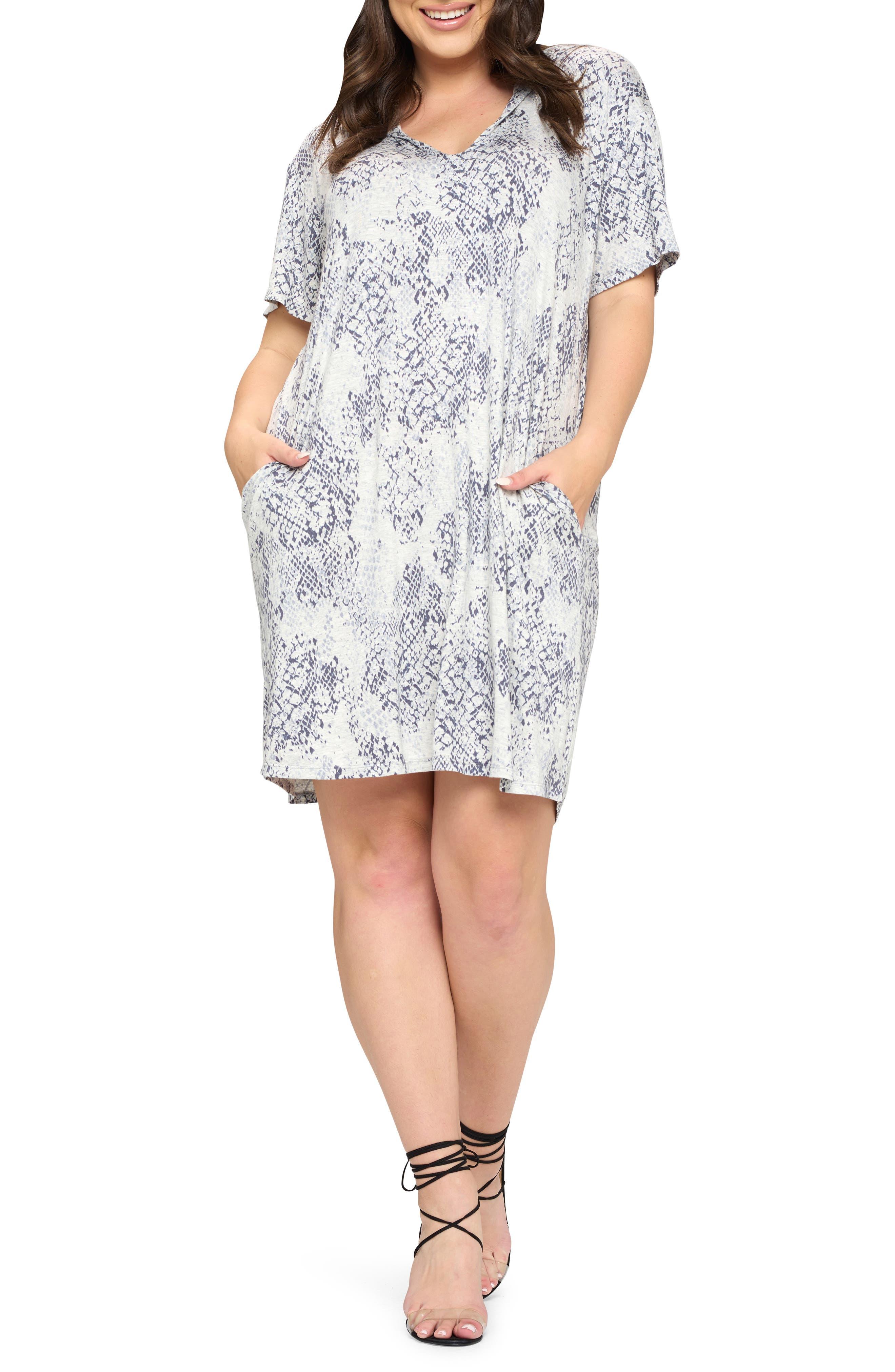 Snakeskin Hooded T-Shirt Dress