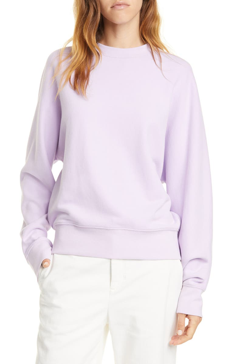 VINCE Dolman Sleeve Cotton Sweatshirt, Main, color, LILY STONE