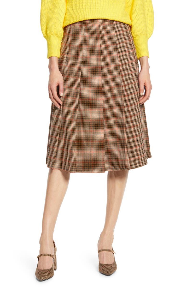 HALOGEN<SUP>®</SUP> x Atlantic-Pacific Check Pleat Midi Skirt, Main, color, 260