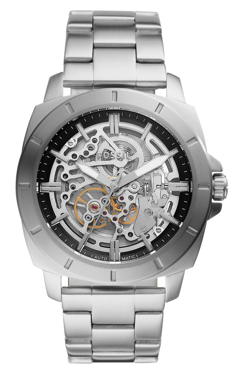 FOSSIL Men's Privateer Sport Mechanical Stainless Steel Watch, 45mm, Main, color, SILVER