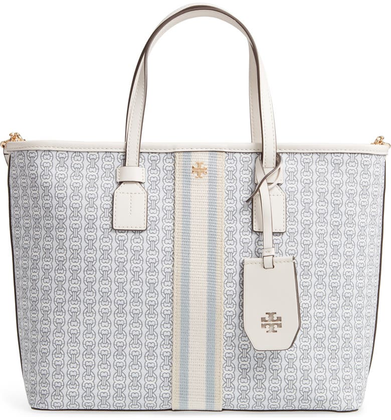 TORY BURCH Small Gemini Link Coated Canvas Tote, Main, color, NEW IVORY