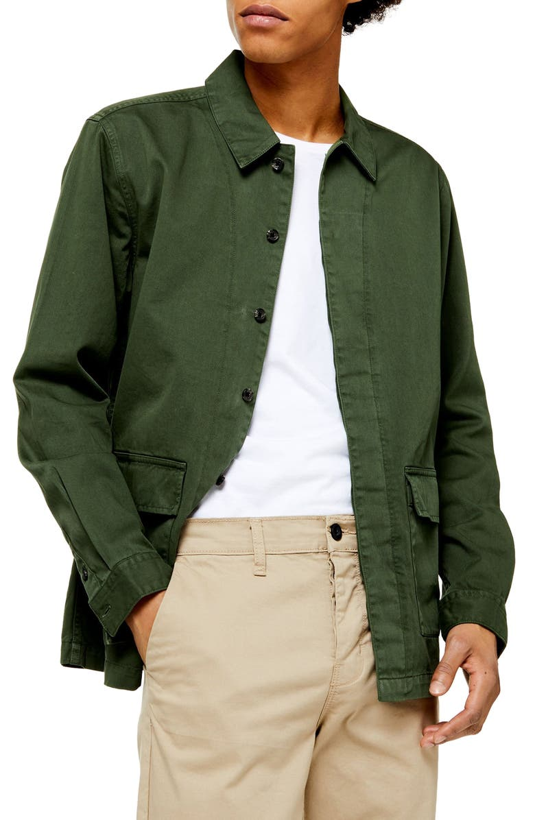 TOPMAN Oversize Twill Shirt Jacket, Main, color, OLIVE