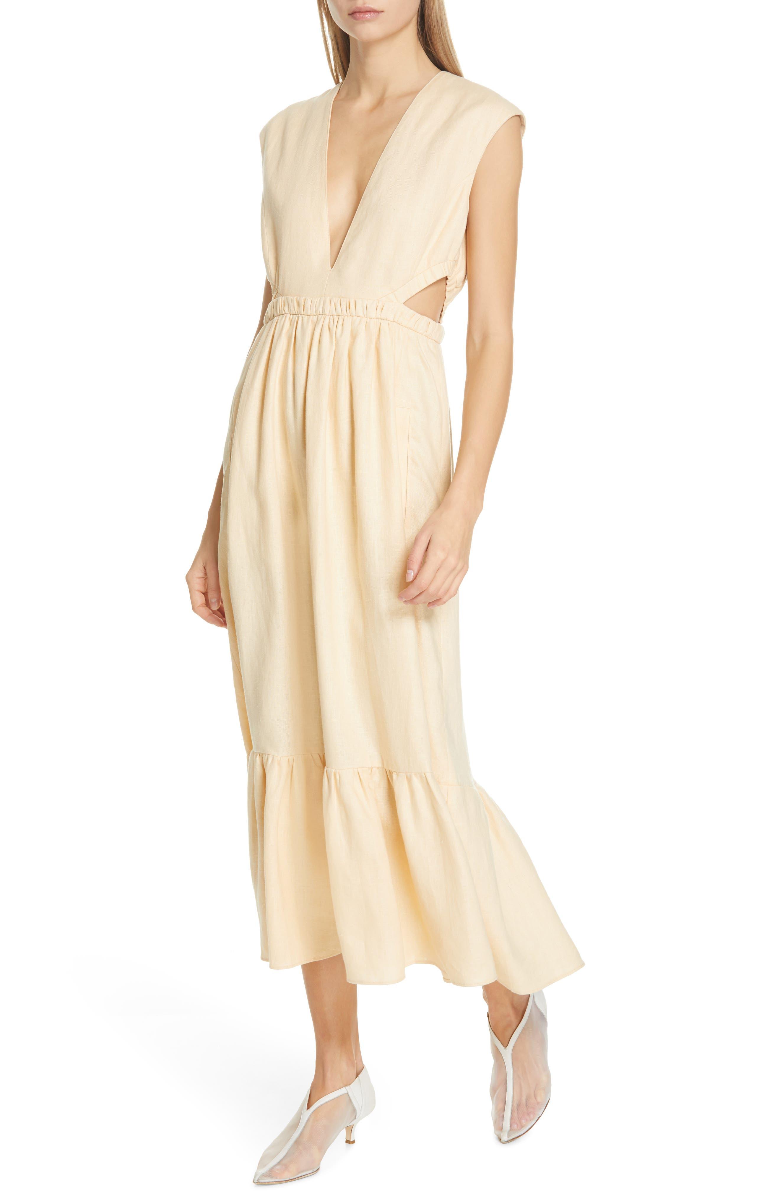Tibi Cutout Waist Linen Midi Dress, Beige