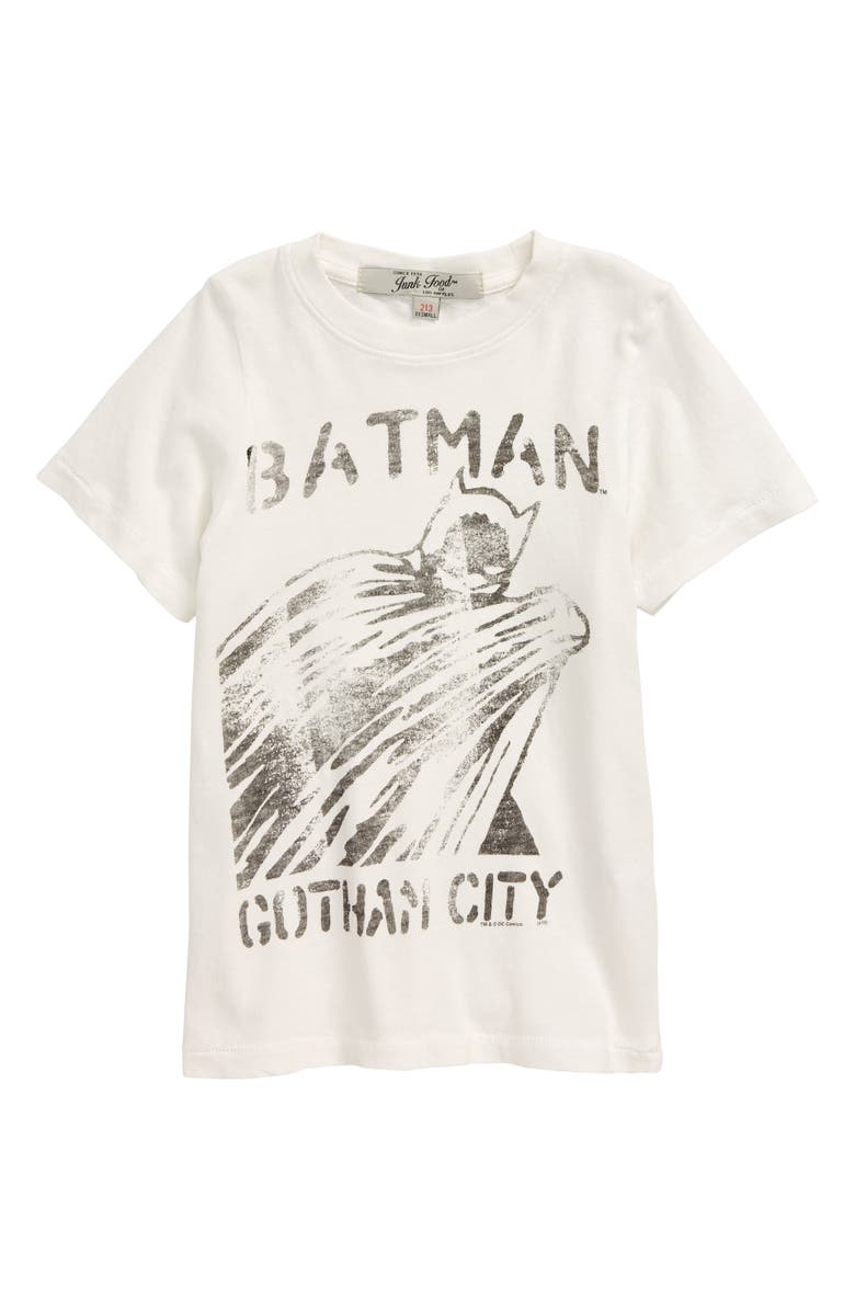 JUNK FOOD Batman Gotham City Graphic T-Shirt, Main, color, WHITE