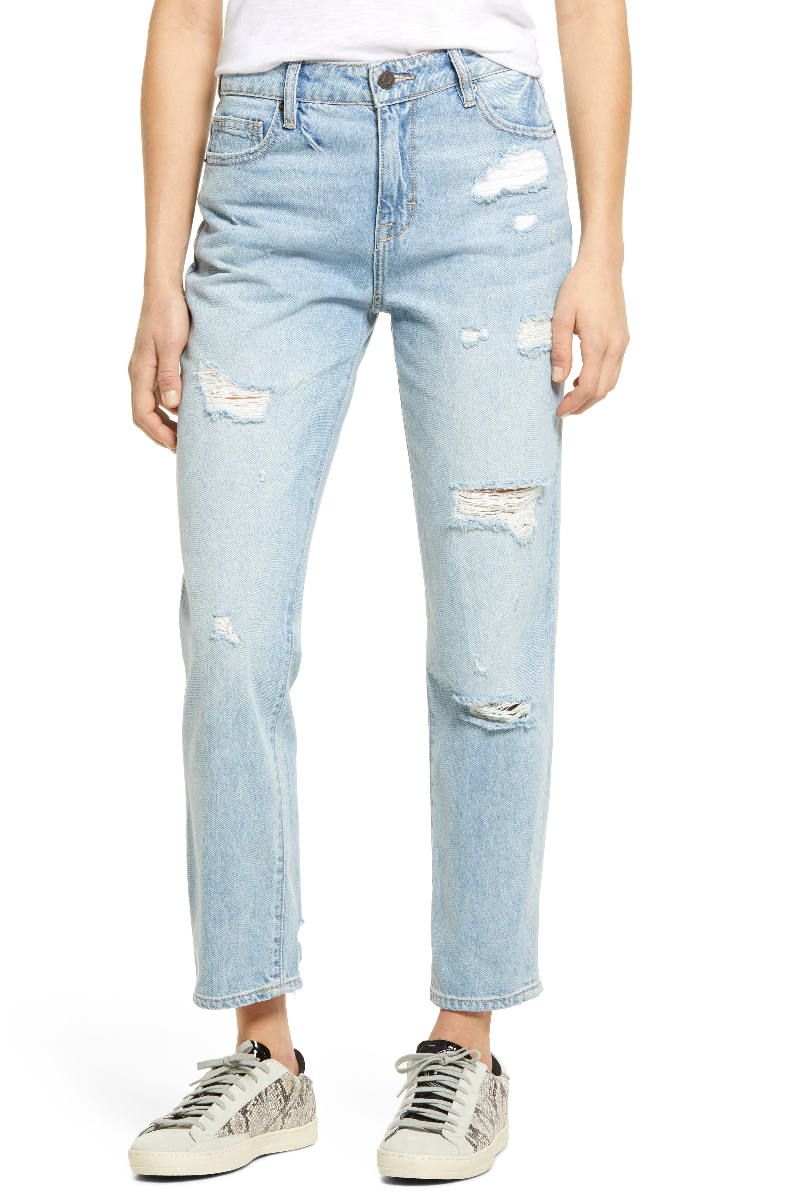 Classic Ripped High Waist Ankle Straight Leg Jeans