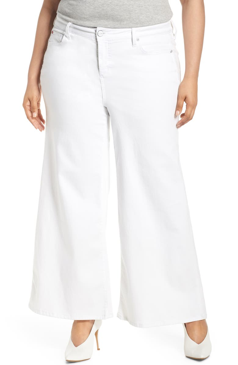 SLINK JEANS High Waist Culotte Jeans, Main, color, WHITE
