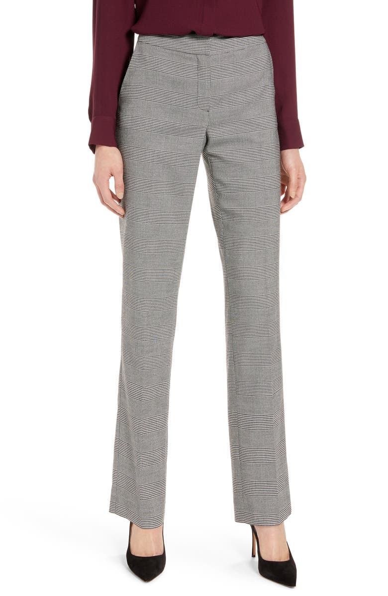 HALOGEN<SUP>®</SUP> Slim Straight Trousers, Main, color, BLACK CHECK