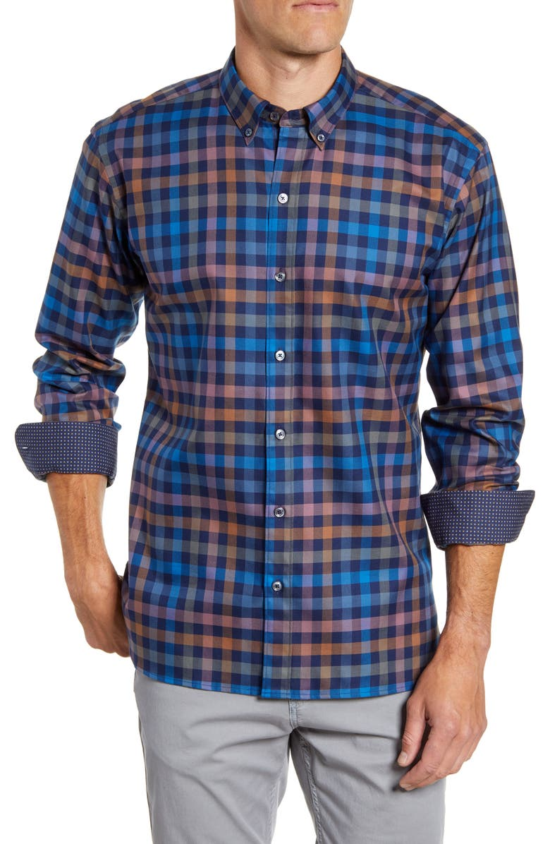 BUGATCHI Shaped Fit Check Button-Down Sport Shirt, Main, color, NAVY