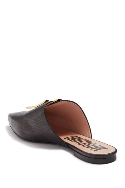 Image of MOSCHINO Pointed Toe Leather Mule