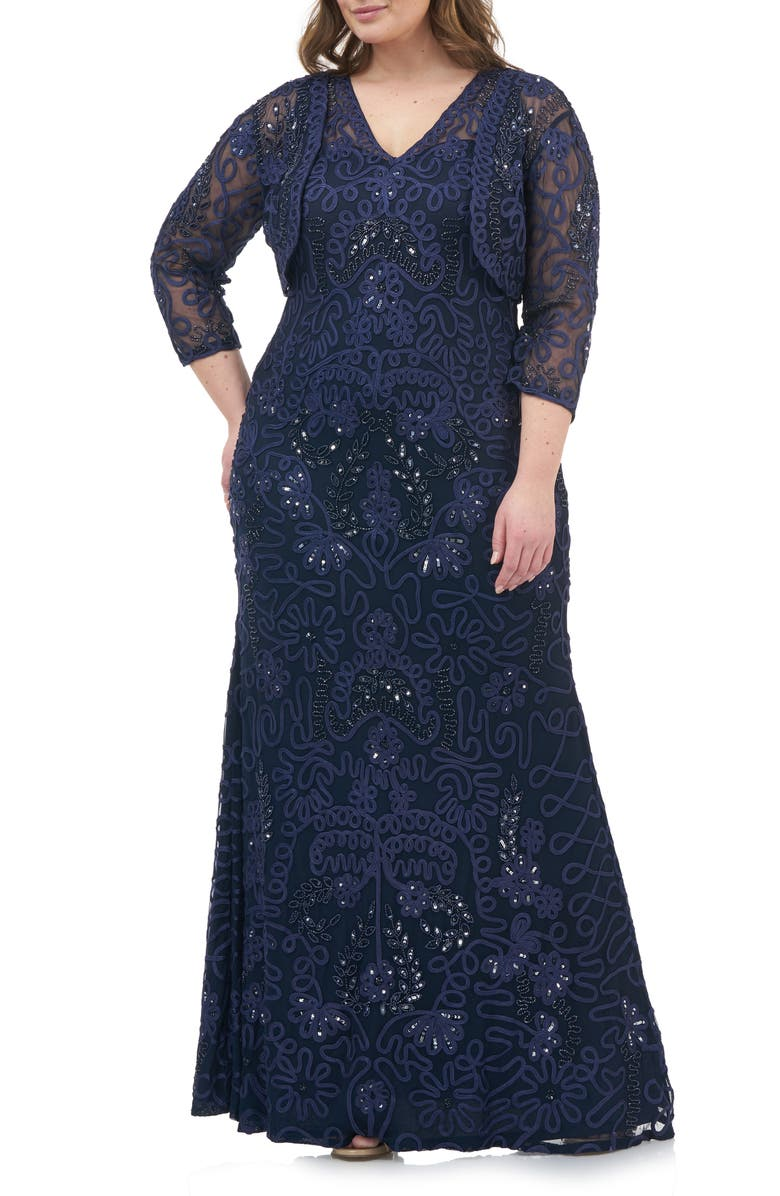 JS COLLECTIONS Soutache Gown with Bolero, Main, color, 410