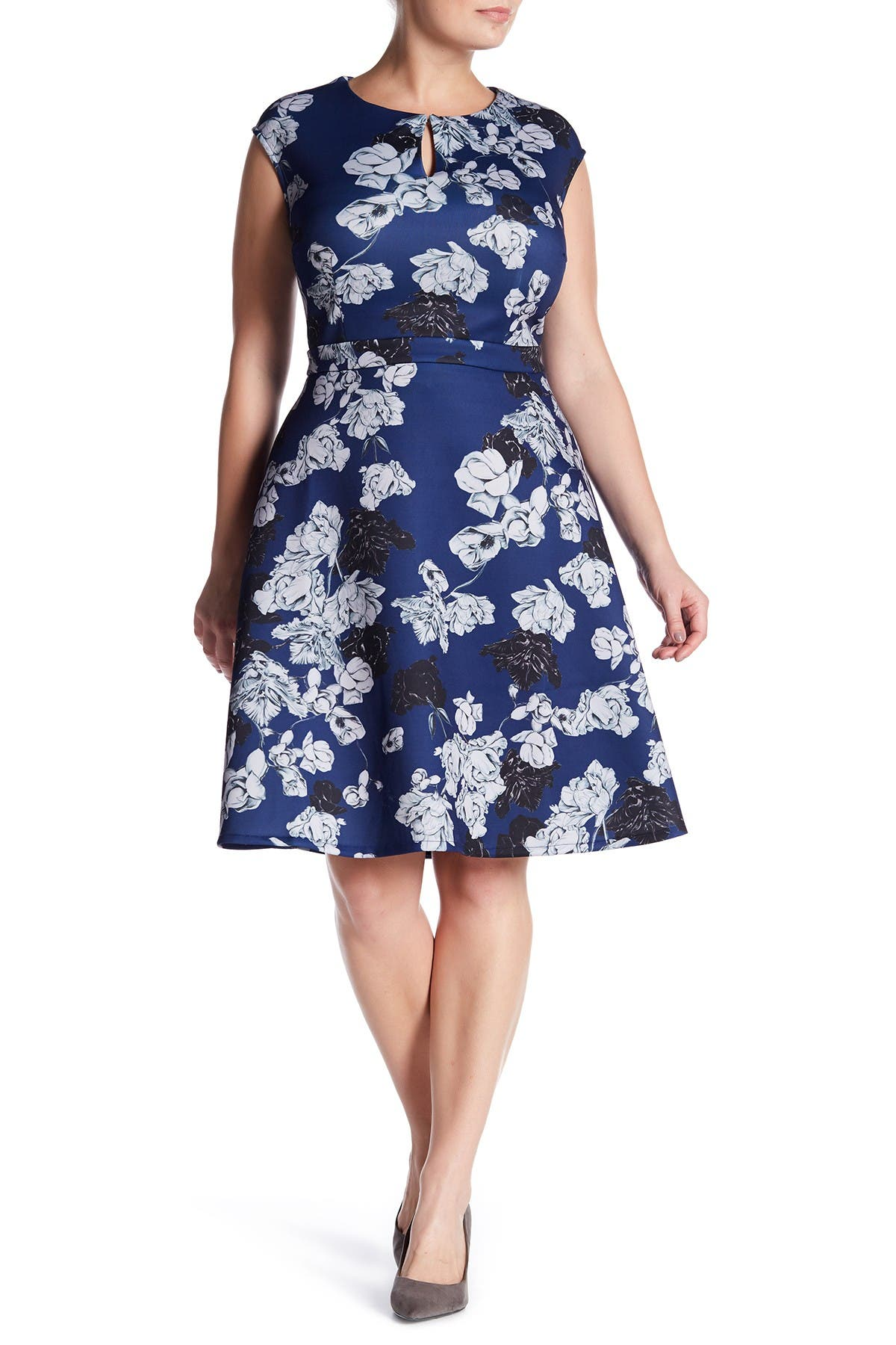 Image of Alexia Admor Floral Keyhole Fit & Flare Dress
