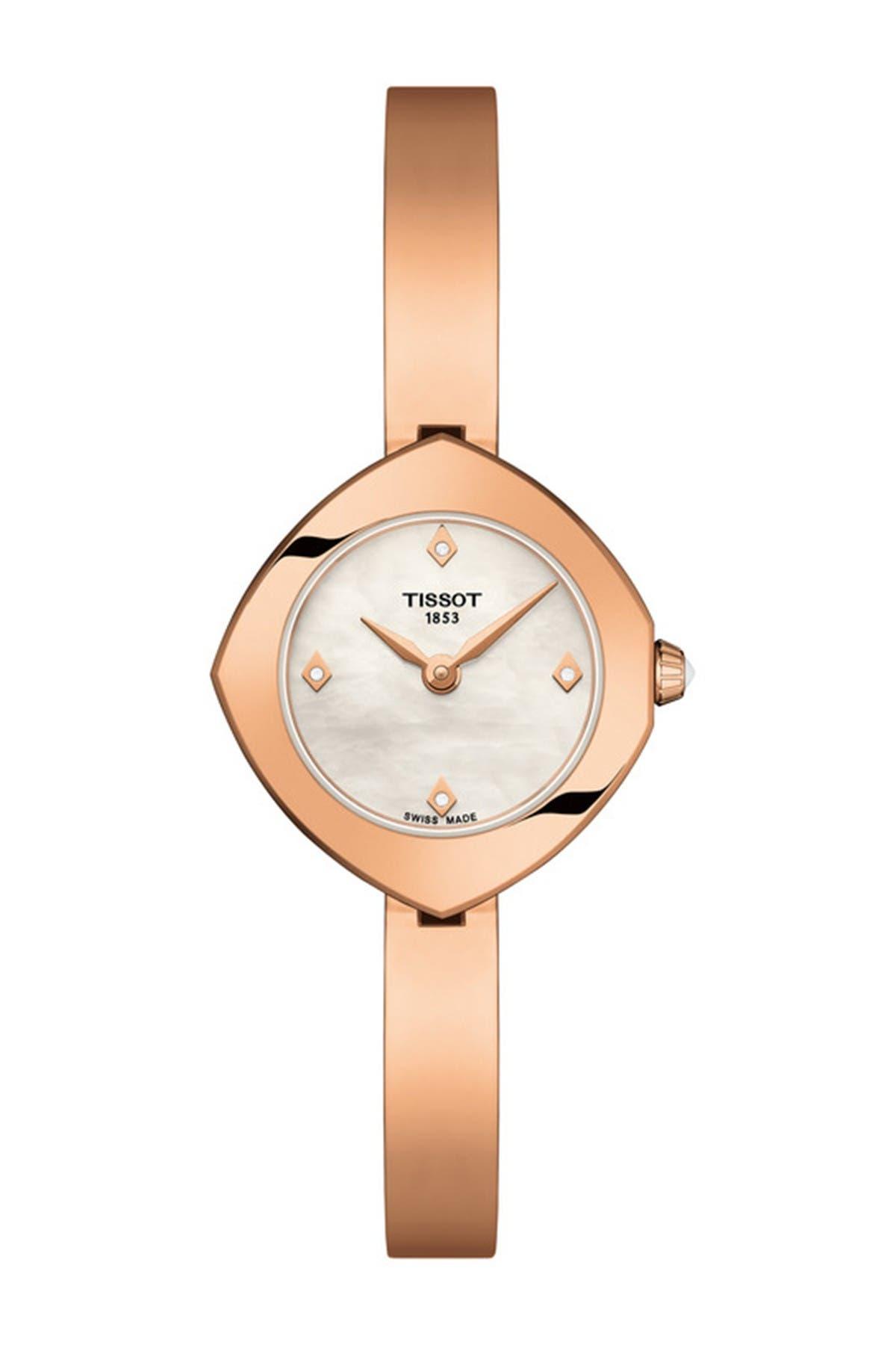 Image of Tissot Women's Femini-T Mother of Pearl & Diamond Bangle Watch, 23mm - 0.01 CTW