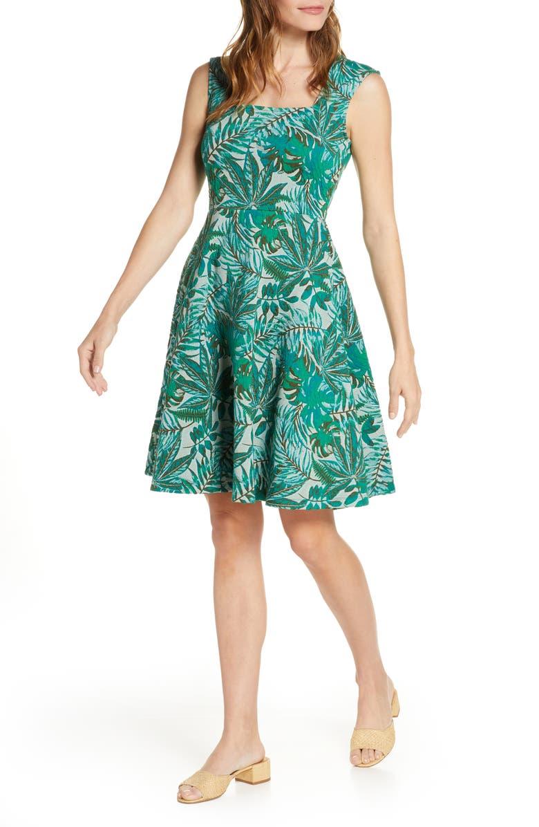 LEOTA Tropical Jacquard Sleeveless Fit & Flare Dress, Main, color, JUNGLE JACQUARD