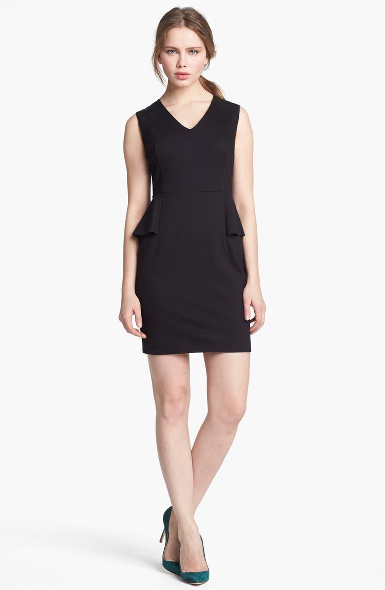 VINCE CAMUTO Faux Leather Shoulder Detail Peplum Dress, Main, color, 001