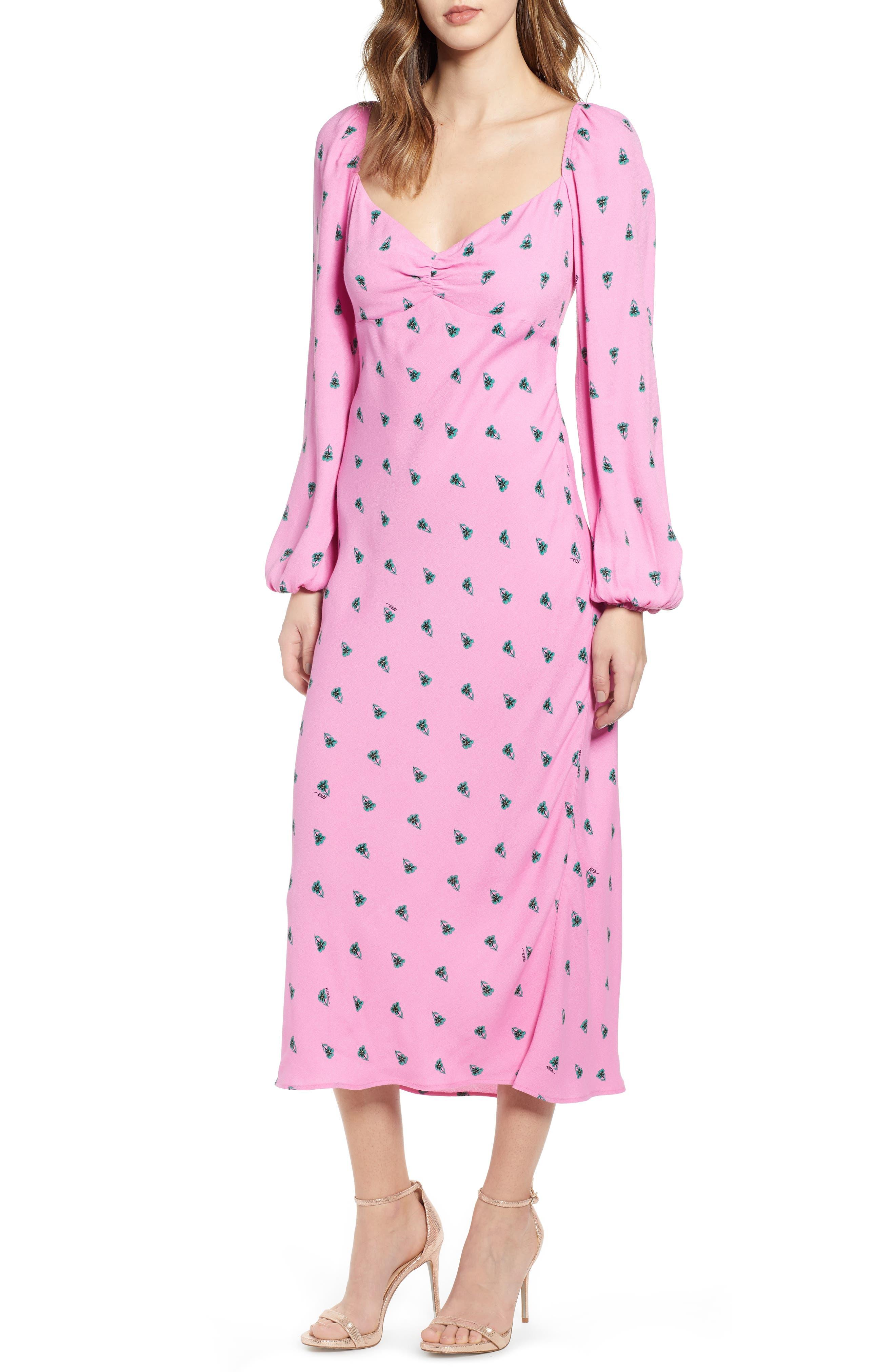 Afrm Trixie Balloon Sleeve Midi Dress, Pink