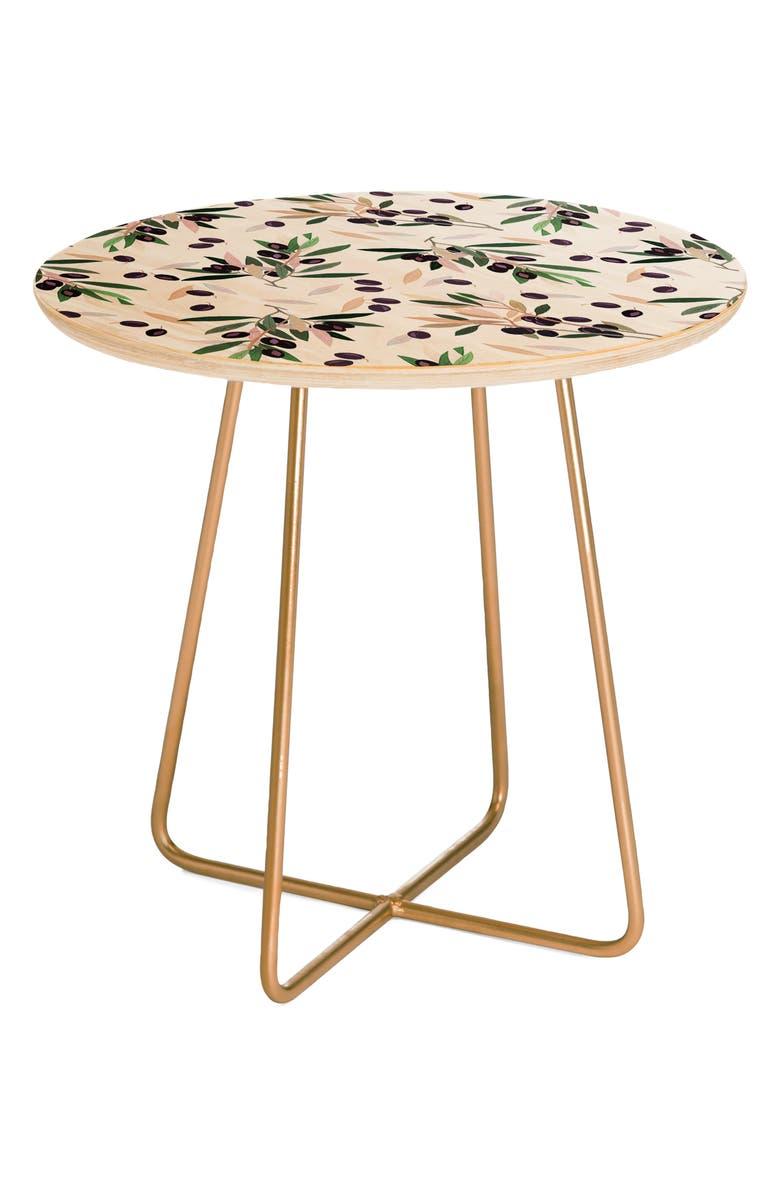 DENY DESIGNS Olivia Sprig Side Table, Main, color, BROWN
