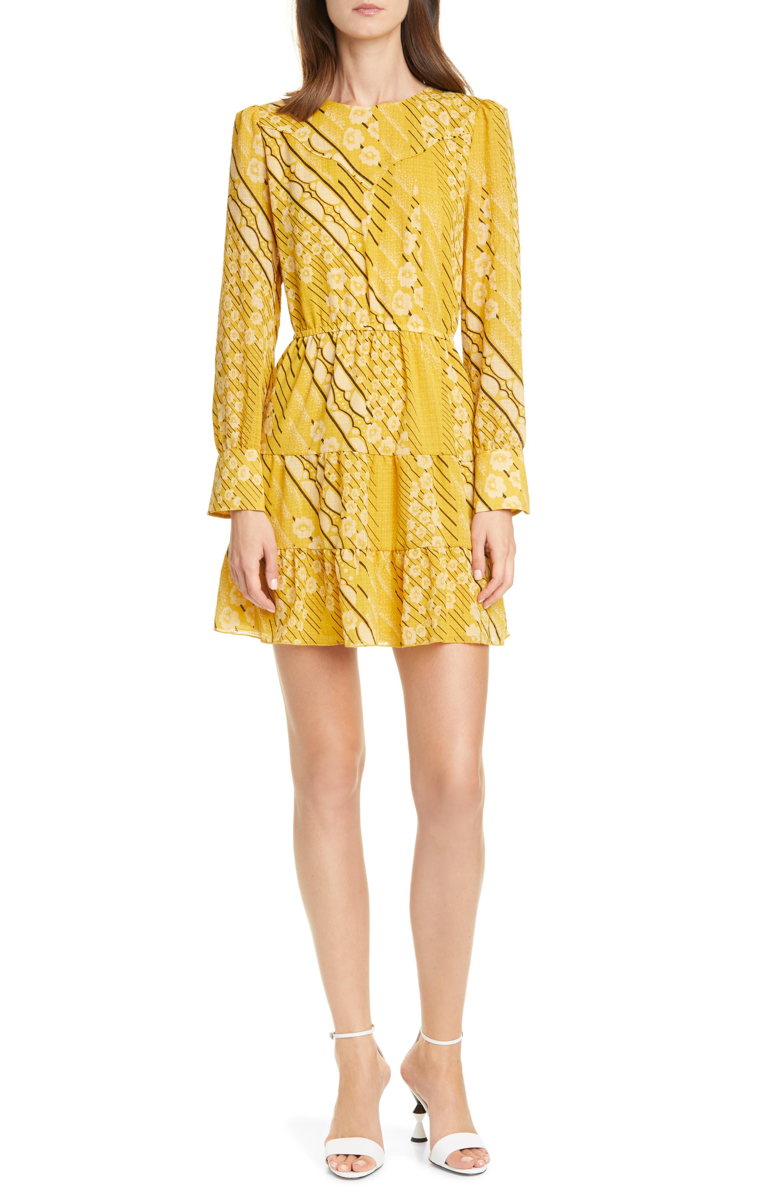 Ba&sh Dresses Ophe Long Sleeve Belted Floral Dress