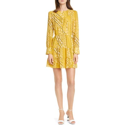 Ba & sh Ophe Long Sleeve Belted Floral Dress, Yellow