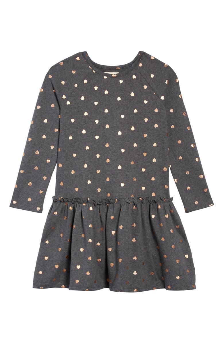 TUCKER + TATE Drop Hem Dress, Main, color, GREY CHARCOAL HEATHER HEARTS