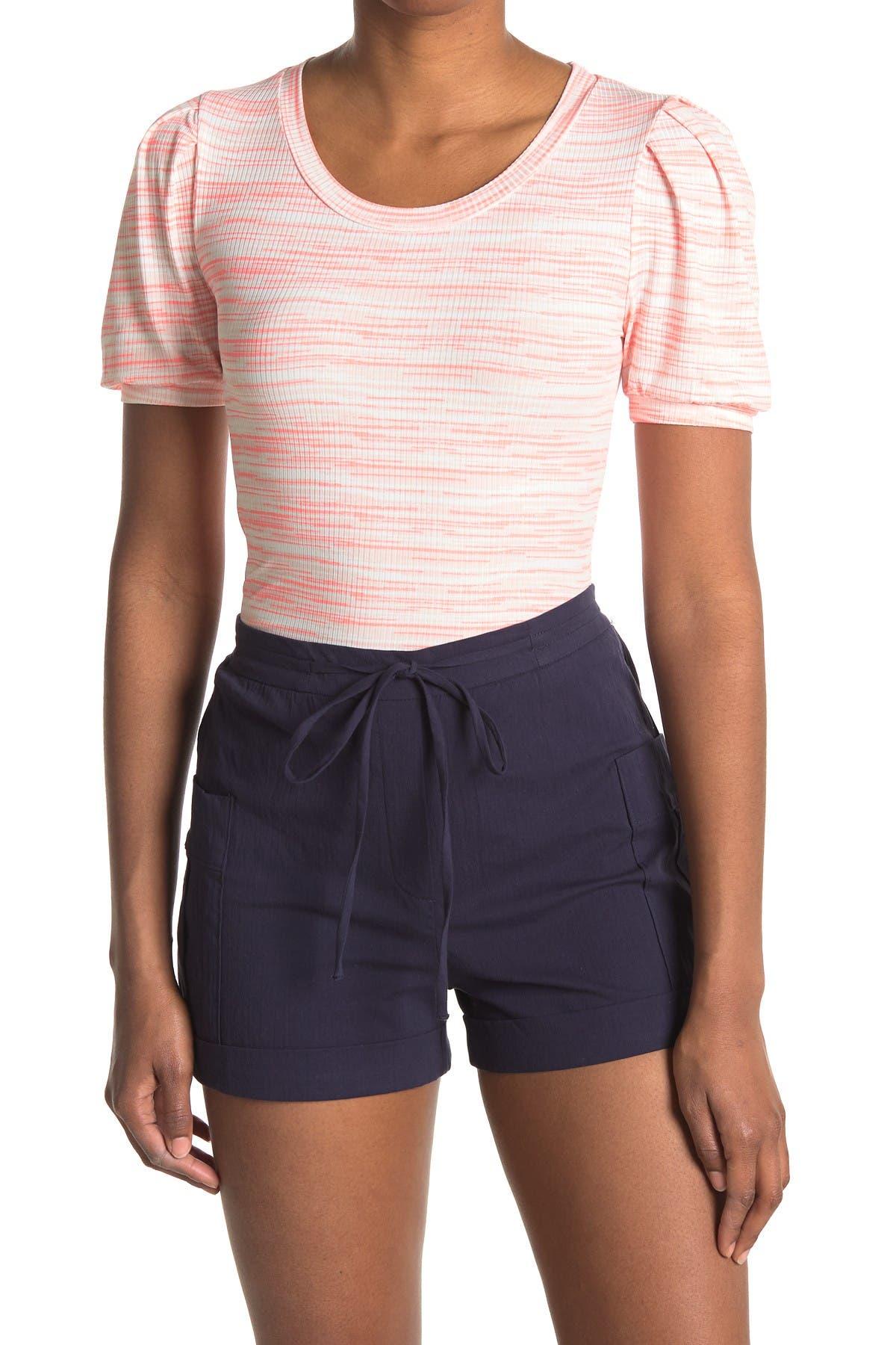 Image of GOOD LUCK GEM Multi Stripe Puff Sleeve Rib Knit Top