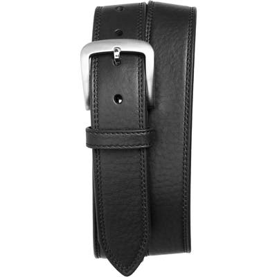 Shinola Double Stitch Leather Belt, Black