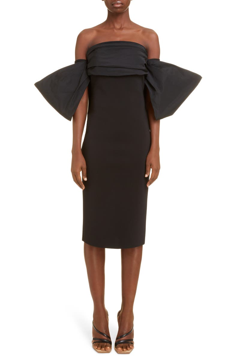 GIVENCHY Off the Shoulder Bow Sleeve Cocktail Dress, Main, color, BLACK