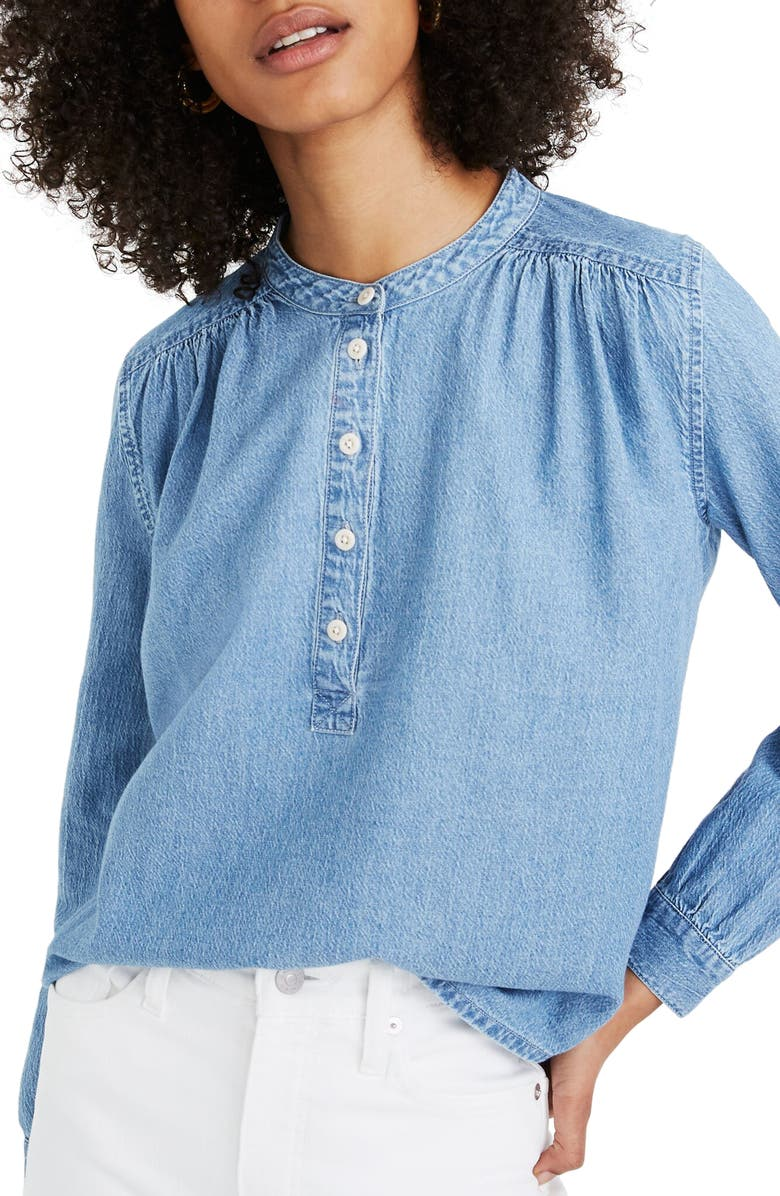 MADEWELL Denim Shirred Popover Top, Main, color, 400