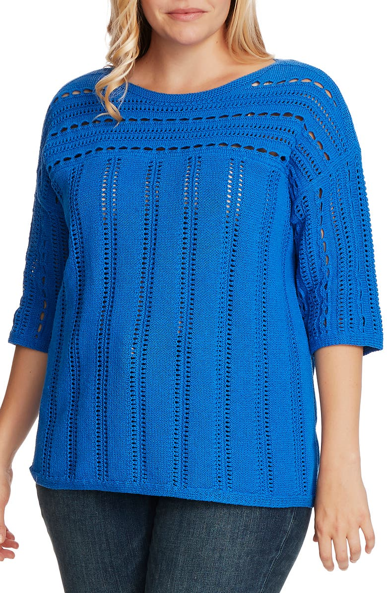VINCE CAMUTO Boatneck Pointelle Sweater, Main, color, DEEP RIVER