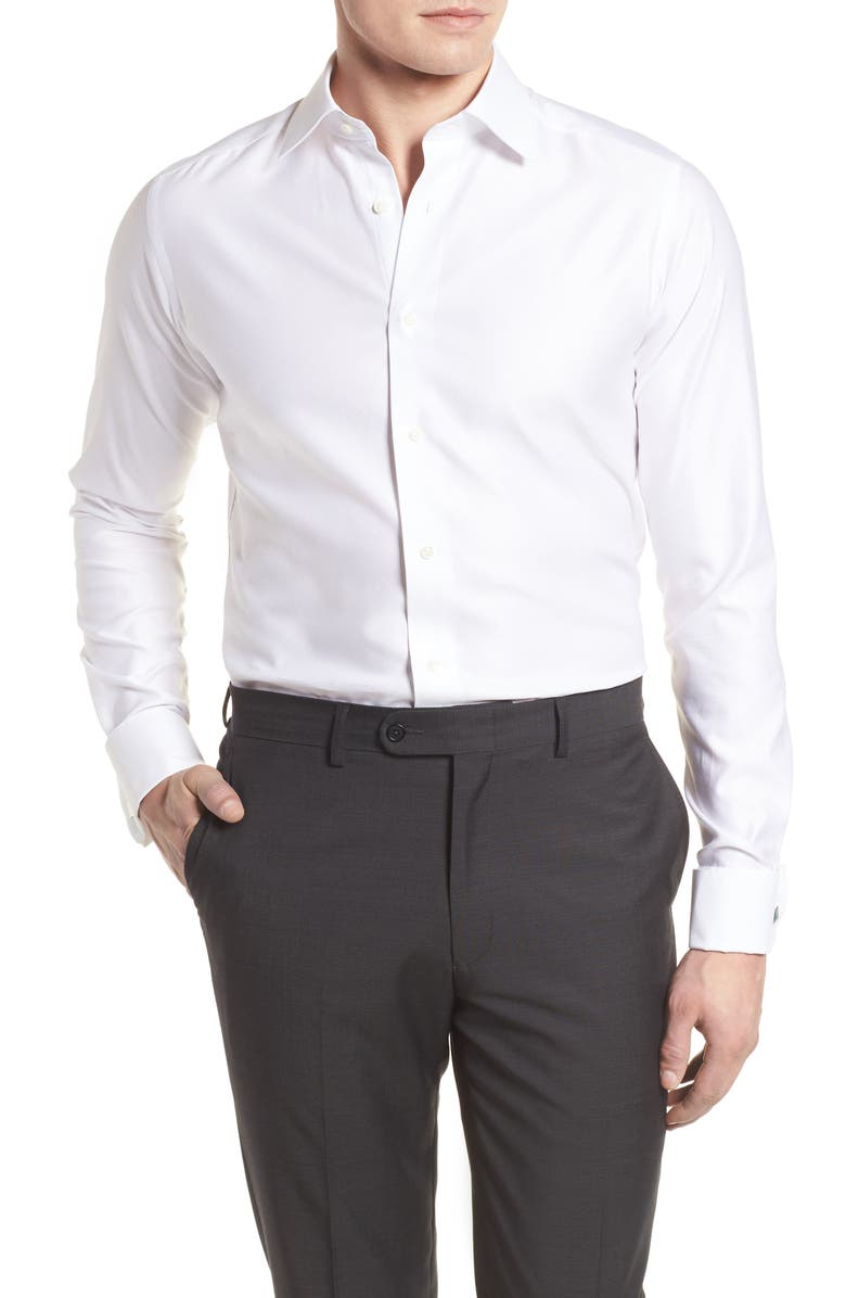 DAVID DONAHUE Slim Fit Tuxedo Shirt, Main, color, WHITE