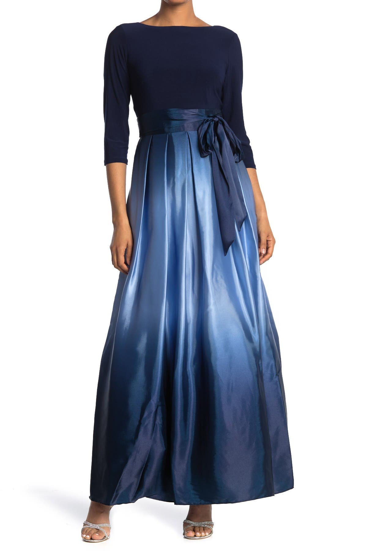 Image of SLNY Tie Waist Ombre Skirt Gown