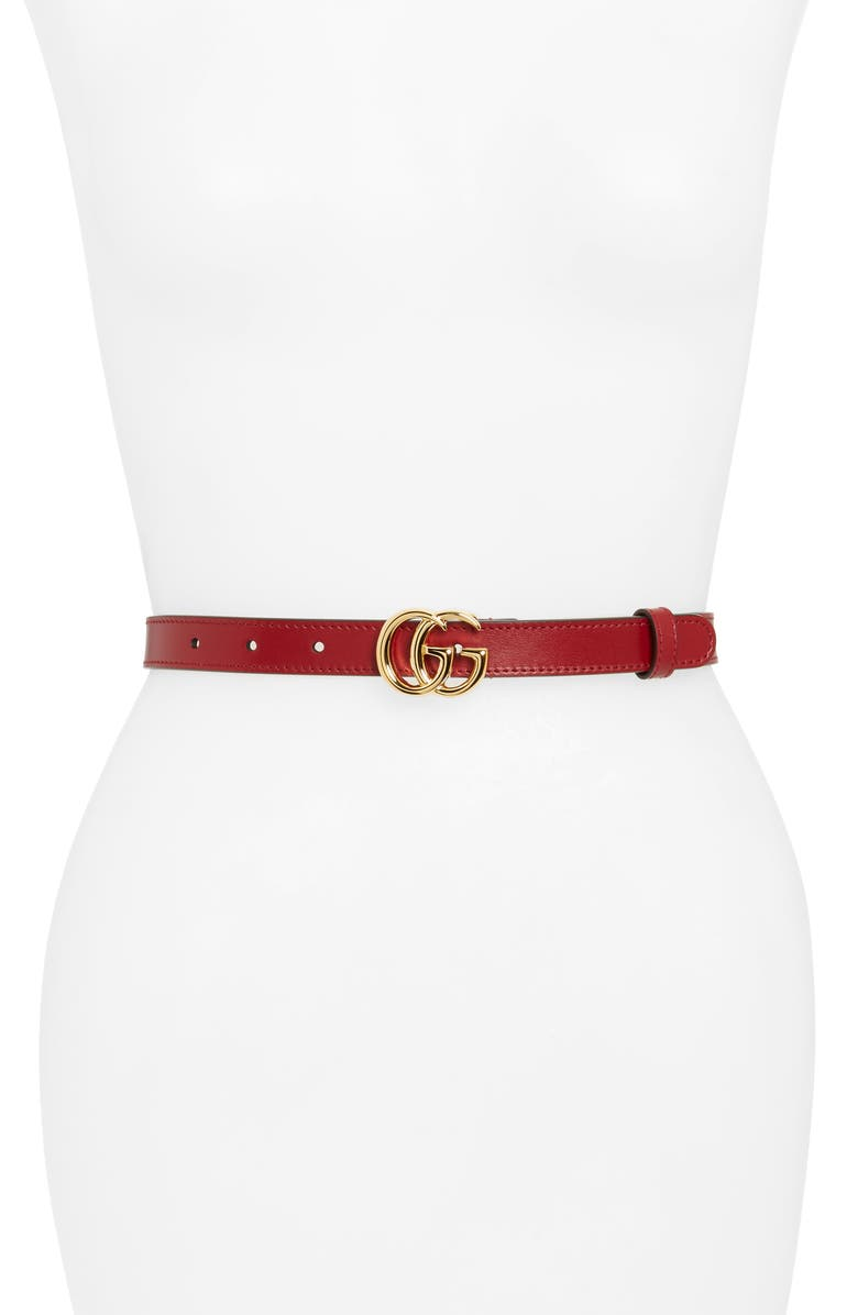 GUCCI Double-G Buckle Leather Belt, Main, color, NEW CHERRY RED