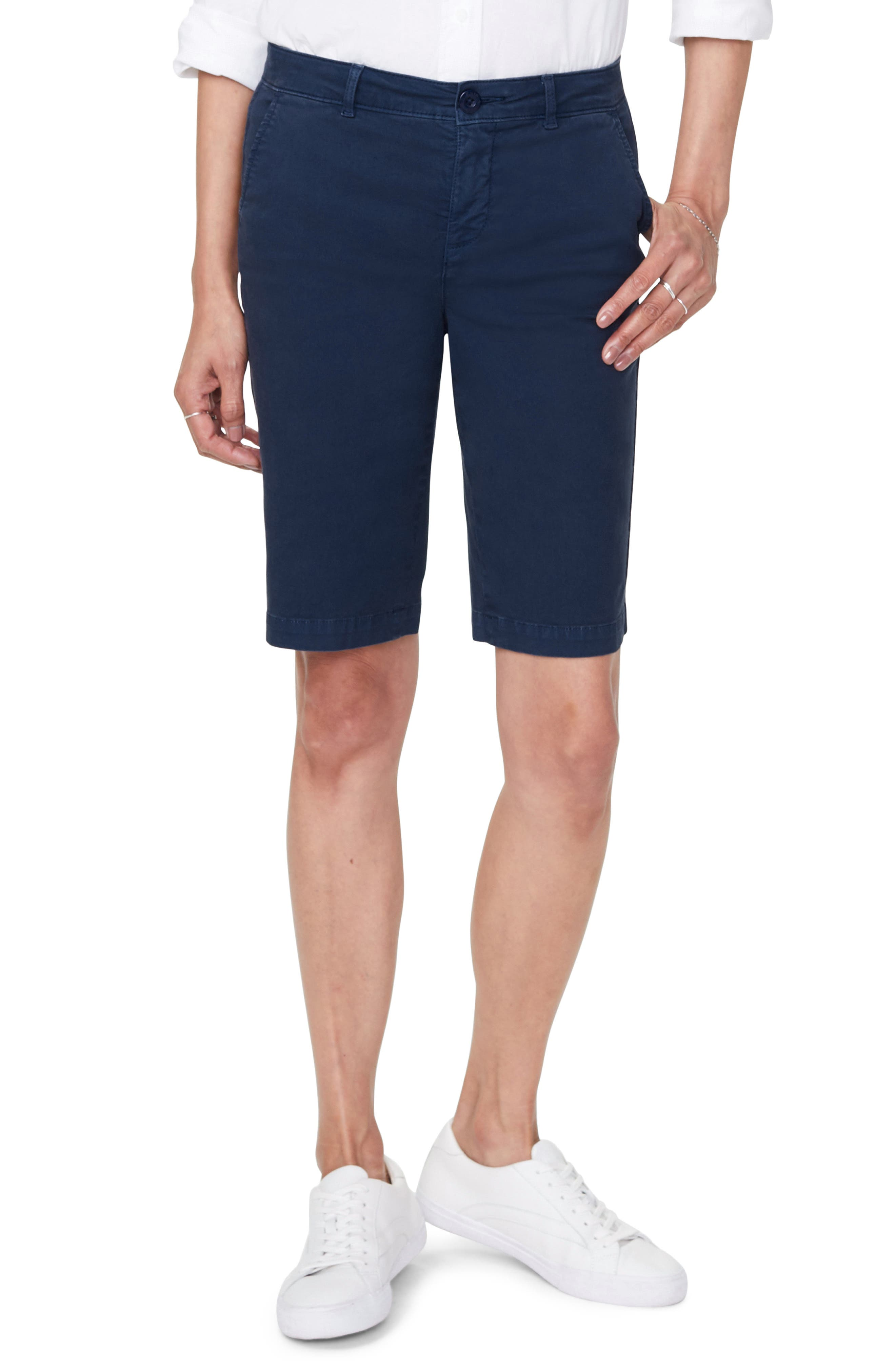 Petite Women's Nydj Stretch Twill Bermuda Shorts,  6P - Blue