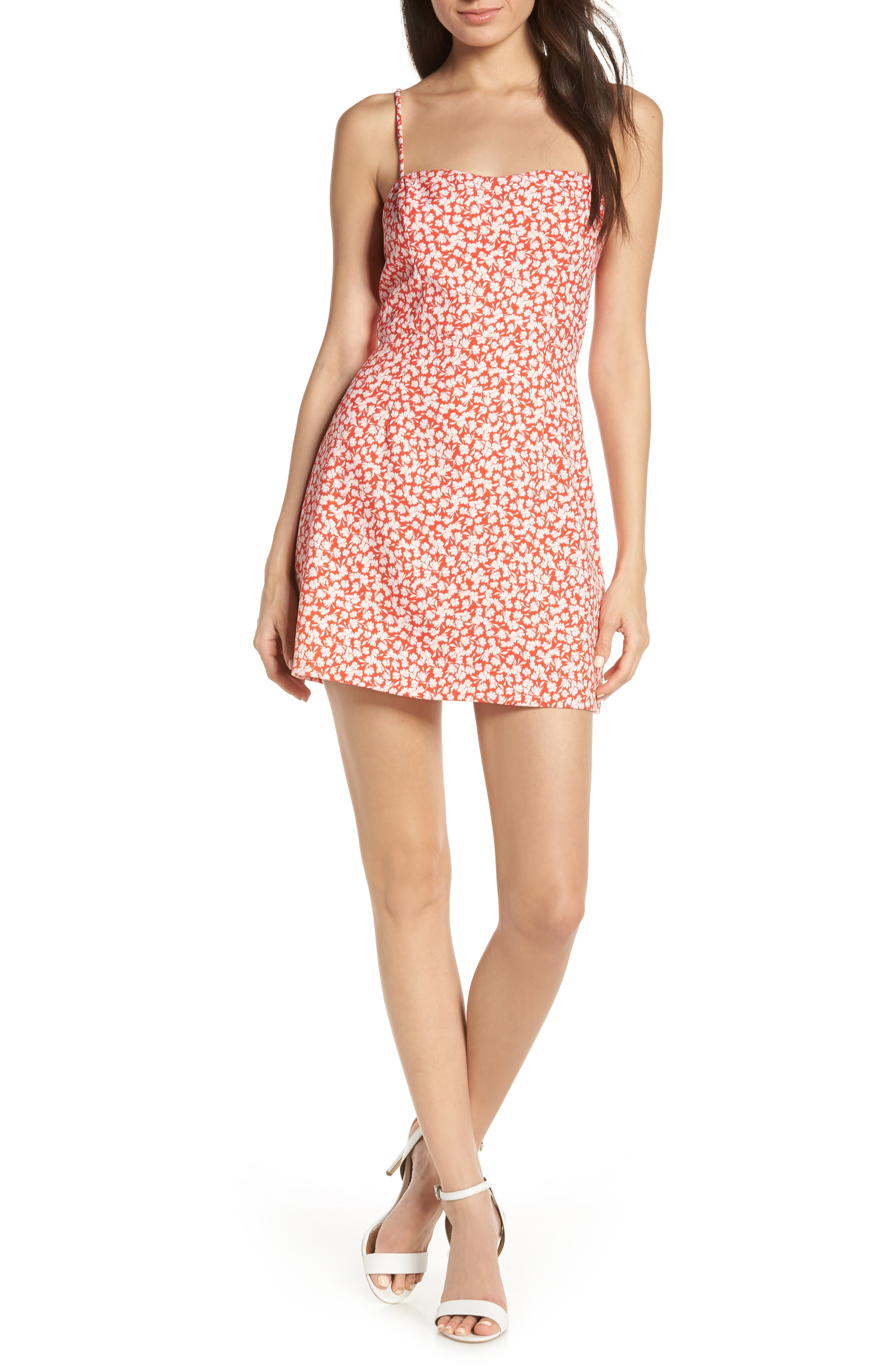 French Connection Baylee Whisper Print Minidress, Red