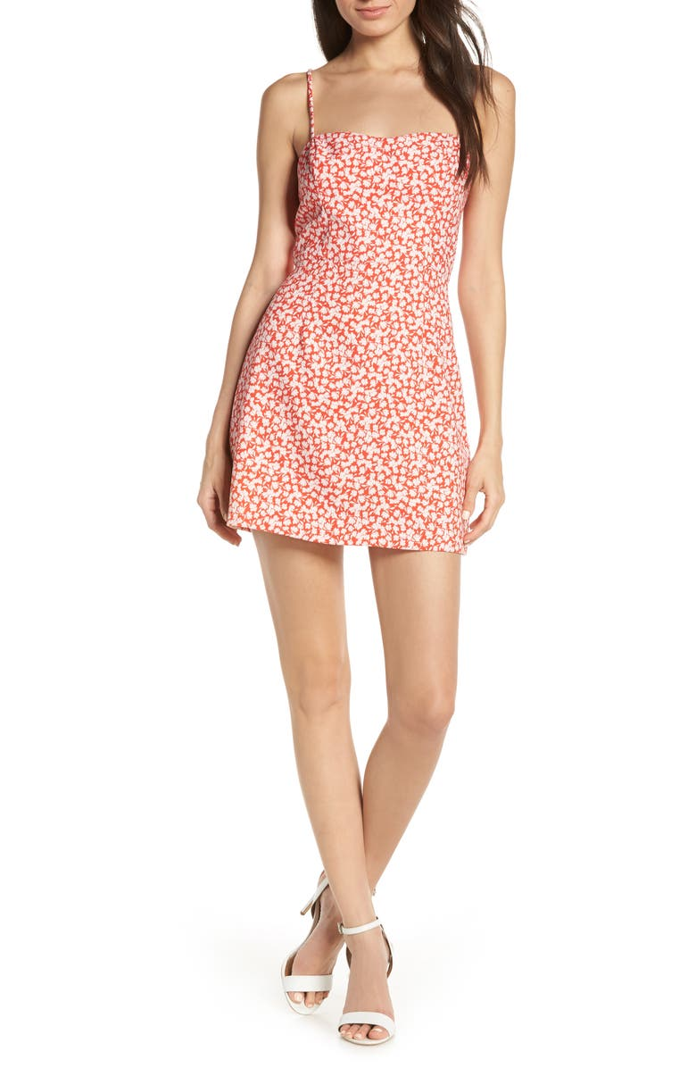 FRENCH CONNECTION Baylee Whisper Print Minidress, Main, color, FIRE CORAL/ SUMMER WHITE