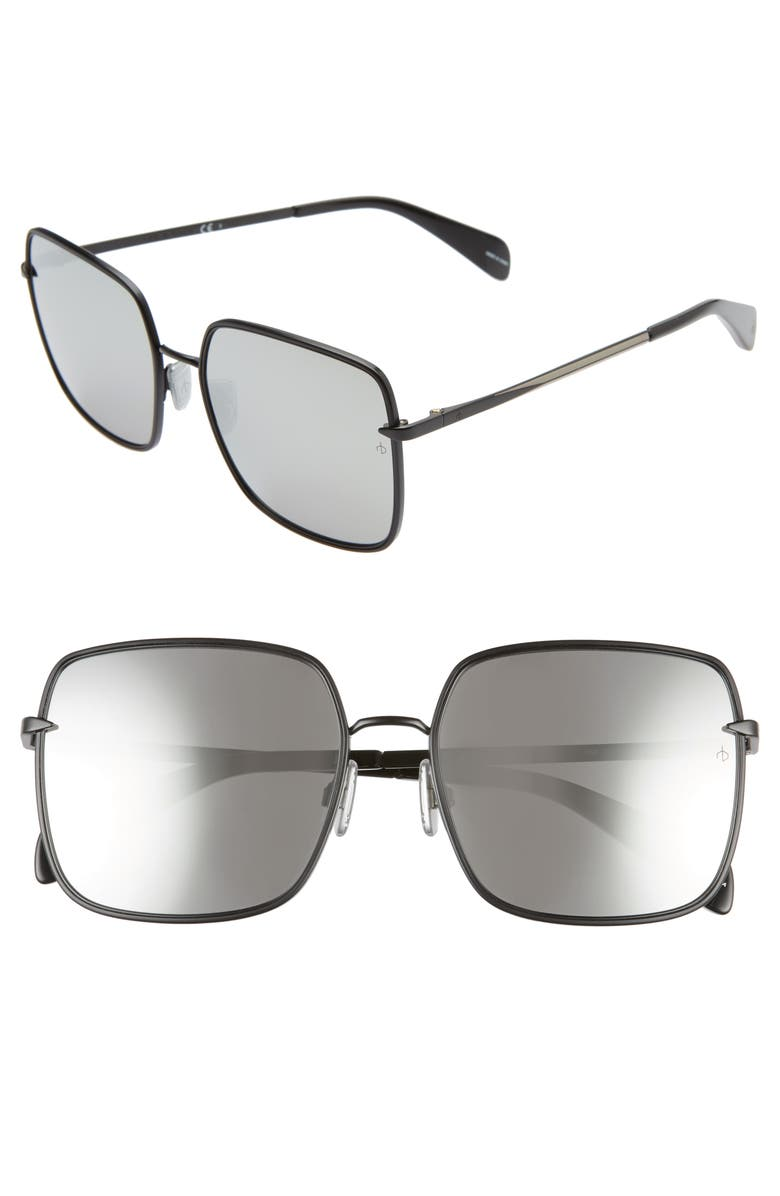 RAG & BONE 58mm Square Sunglasses, Main, color, BLACK/ SILVER MIRROR