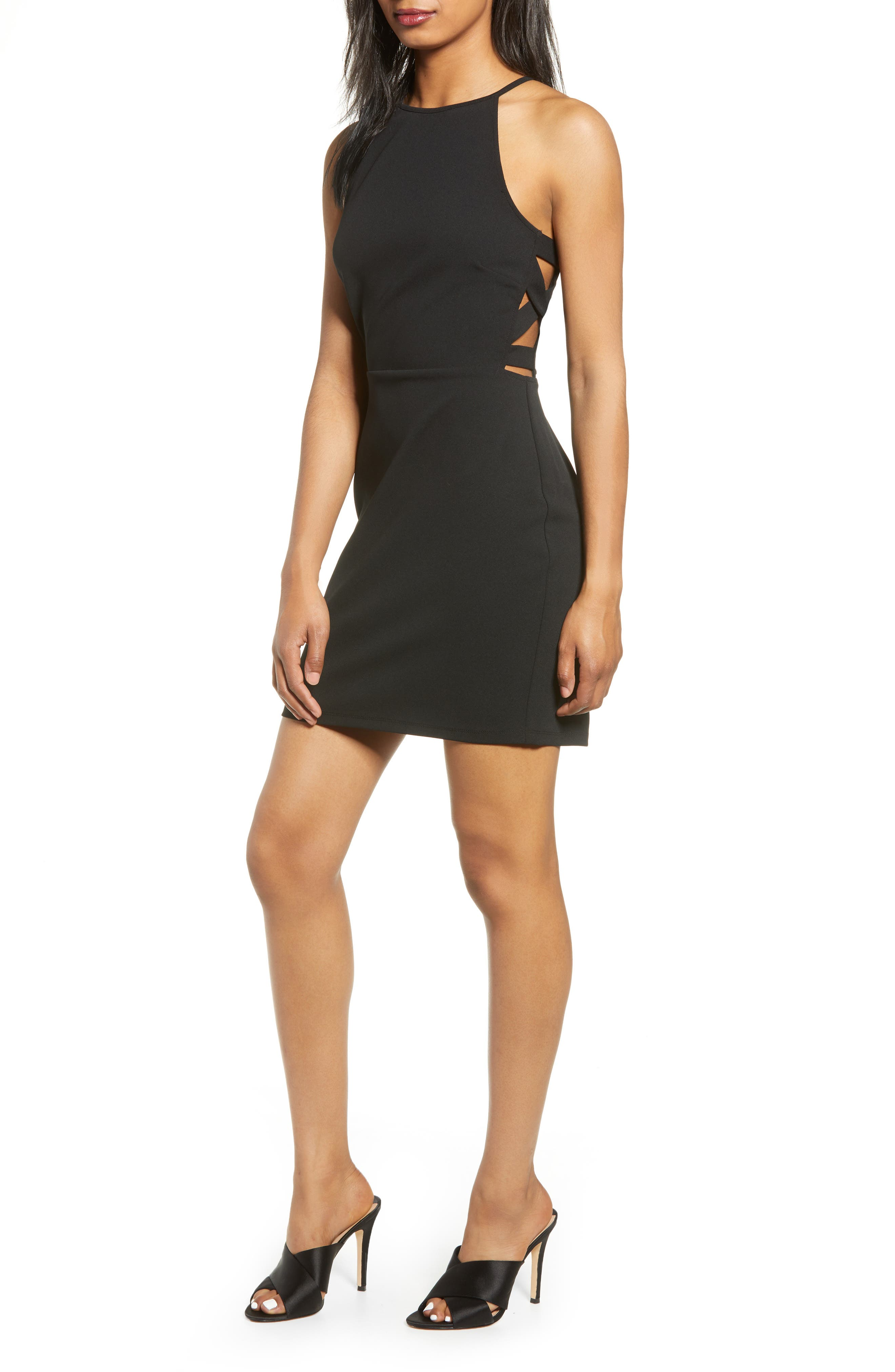 Speechless Side Cutout Body-Con Minidress, Black