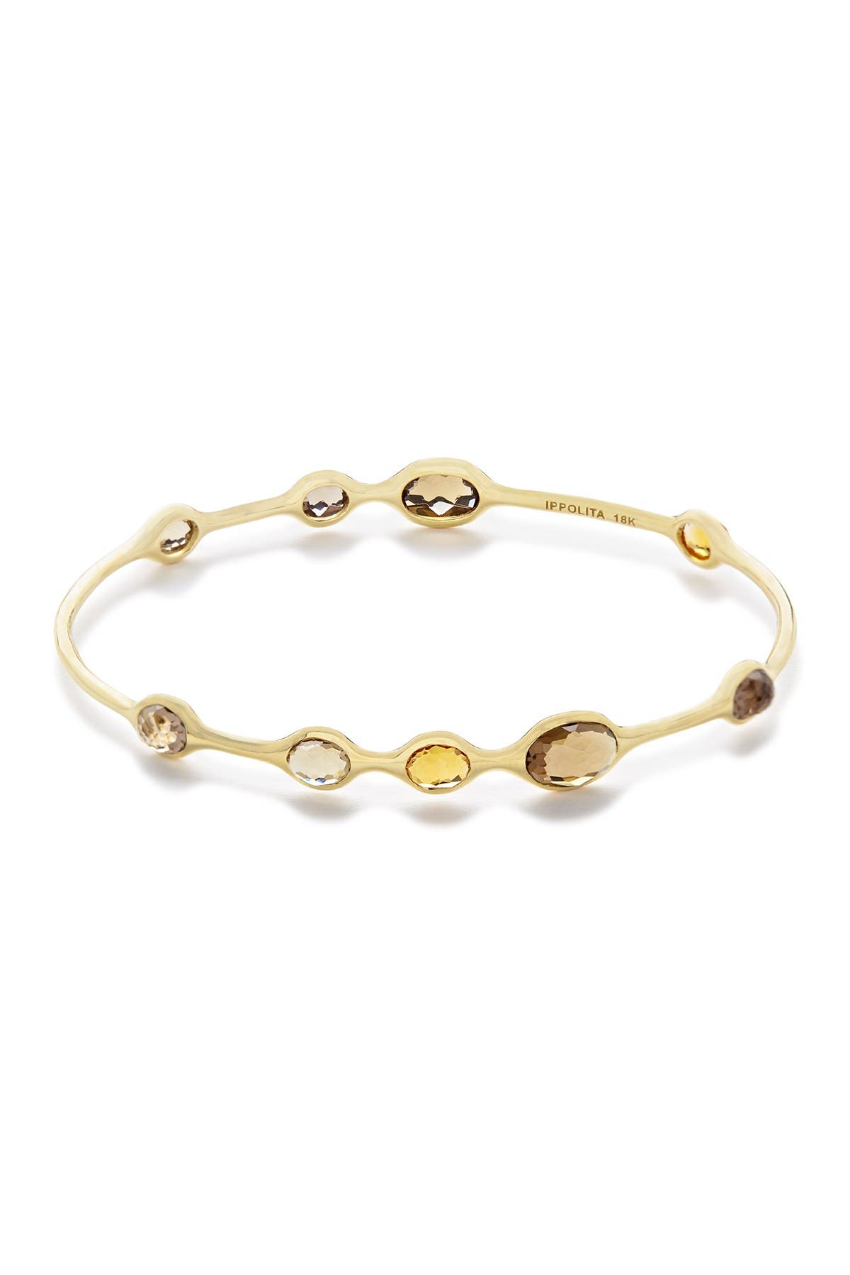 Image of Ippolita Rock Candy Toffee 18K Yellow Gold 9-Stone Bangle Bracelet