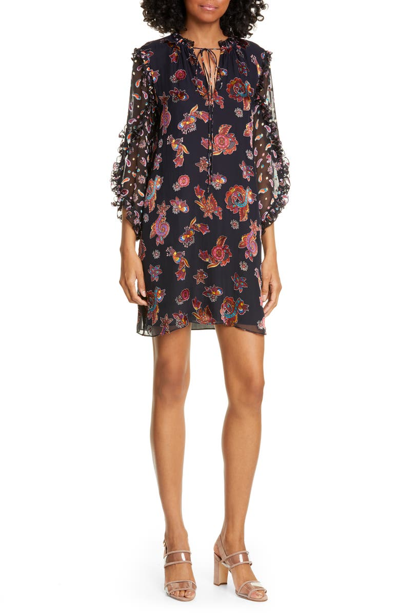 ALICE + OLIVIA Julius Ruffle Sleeve Silk Blend Dress, Main, color, WHIMSY PAISLEY